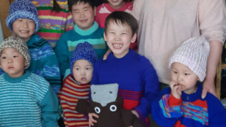 Mongolian Children knitting